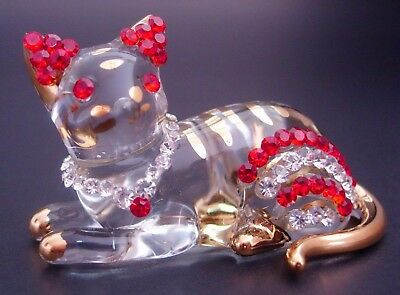 Beautiful Glass CAT Gold Painted, Red & Clear Crystal Beads Pretty Glass Animal
