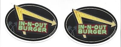 2 New IN N OUT BURGER YELLOW /& GREEN NEON LIGHTS Bumper  Stickers