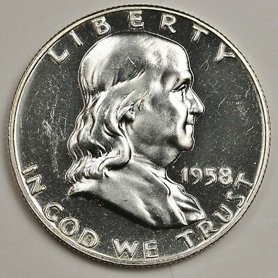 1958 Franklin Half Dollar.  Proof.  Nice White Coin.  No Toning.  126828