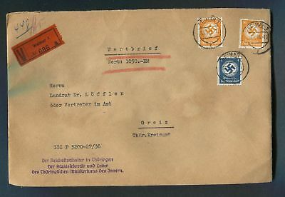 German Reich WW II : SCARCE official cover from 1936 - Weimar - intact wax seals