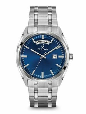 Bulova Classic Blue Dial Stainless Steel Mens Watch 96C125