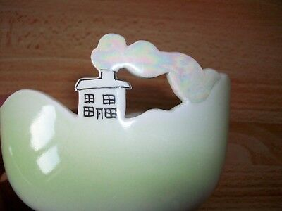 Rare Retro Kiln Cottage Pottery Bowl With House & Smoke In Lustre Pale Green
