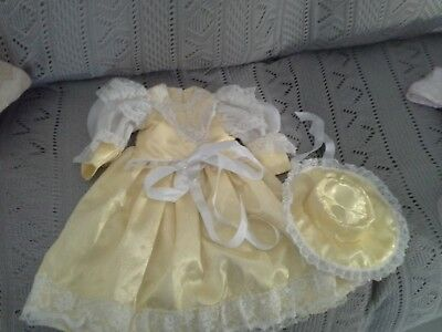 Elaborate silk dress in yellow and lace and matching bonnet for 20, 22inch doll