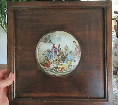 Antique Republic Period Chinese 8 Immortal Round Framed Porcelain Painted Plaque