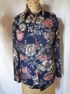 Vintage 60s 70s Boys size 16 Button SHIRT Fitted MOD Hippie Nylon Disco Roses