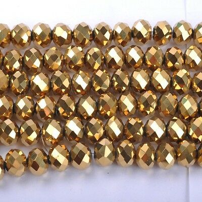 100pcs Gold Top Quality Czech Crystal Faceted Rondelle Beads 6MM