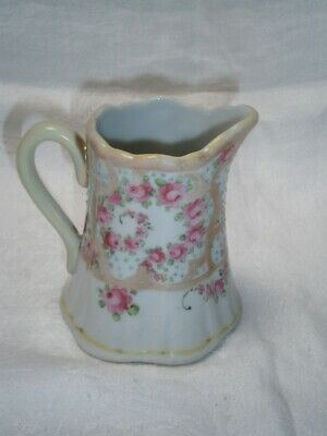 Collectable Antique Enamelled Shabby Pink Rose Design Cream Serving Jug Chic