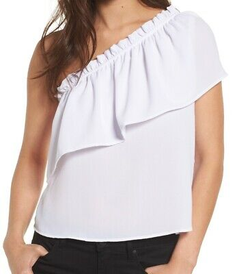 4cd2e2da4135f8 LILLY PULITZER WOMENS White Morley Top One Shoulder Ruffle Size XS ...
