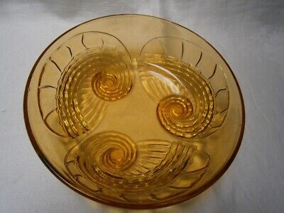 Antique Art Deco Amber Glass Large Serving Bowl With Shell Design On Legs