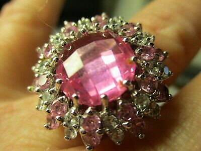Sterling Silver 925 Estate Pink Cubic Zirconia Cocktail Flower Ring Size 6.75
