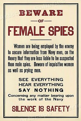 Beware of Female Spies! Women are Employed by the Enemy! WWI Spy Poster - 20x30