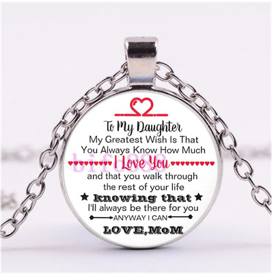 To My Daughter,i Love You,love,mom Silver Cabochon Glass Pendant Chain Necklace