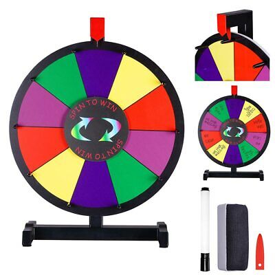 """WinSpin? 15"""" Color Prize Wheel 10 Slots Tabletop Spinning Dry Erase Fortune Game"""
