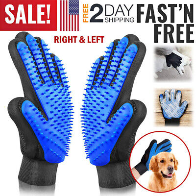Pet Grooming Glove Brush Dog Cat Fur Hair Removal Mitt Massage Deshedding Gloves