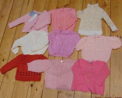 18 Hand Knitted Wool Baby Pink White Yellow Cardigans Jumpers Age 12- 18 Months