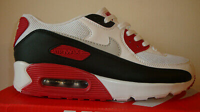 more photos 7cab0 0c222 Mens Nike Air Max 90 White Black Dark Red Trainer Size Uk 8 New Boxed