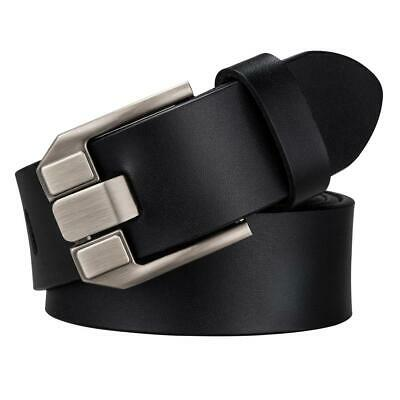 Black Full Grain Leather Mens Belts Single Prong Pin Buckle Jeans Belt Waistband
