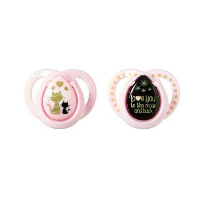 Tommee Tippee MODA Pacifier 2-Pack, 0-6 Months - Pink Little Lady and Pink YOLO