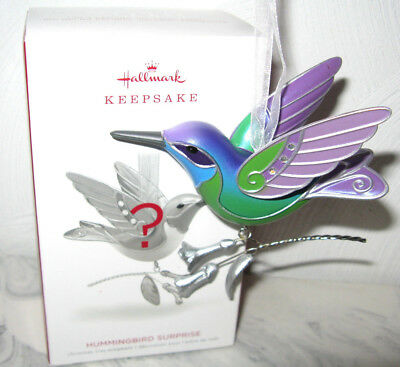 2018 Hallmark Beauty of Birds Green Purple Hummingbird Surprise Mystery Ornament