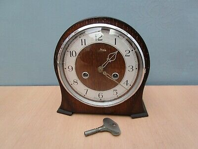 Vintage Wooden Smiths Mantle Clock - With Key