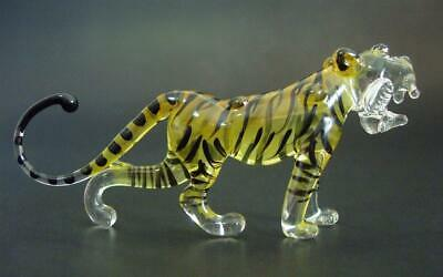 Curio Display Glass TIGER Stripy Painted Glass Ornament Glass Animal Wild Cat