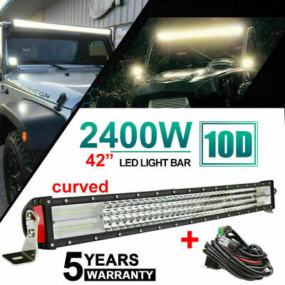 "10D 4 ROW Cree 42''INCH CURVED 2400W LED LIGHT BAR COMBO FLOOD SPOT LAMP 40"" 44"""
