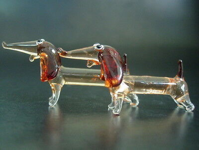 2 Tiny Glass DACHSHUND DOGS Puppy's Red Stained Painted Glass Animals Ornaments