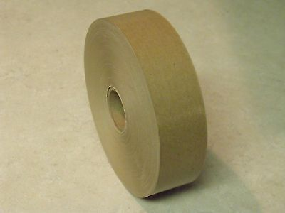 "8 ROLLS - 1.5"" x 500 Feet Each -  Water Activated NATURAL TAN KRAFT PAPER TAPE"