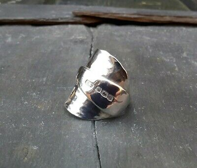 Chunky Hammered Solid Silver Spoon Ring Hallmarked 1932 Mothers Day Gift Wow