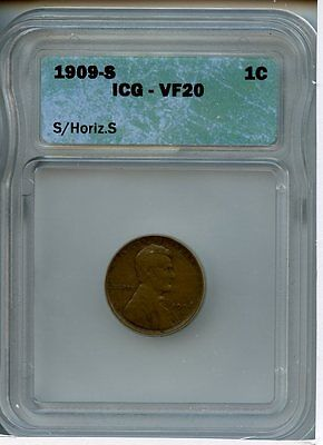 1909 S / Horizontal S 1C Icg Vf 20 (Very Fine)  Lincoln Wheat Cent Penny