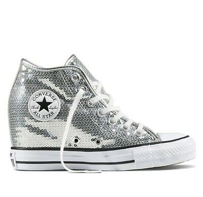 CONVERSE CHUCK TAYLOR All Star Lux Wedge Sequin Silver White Boots Uk 6  556781C -  110.94  e45714f33
