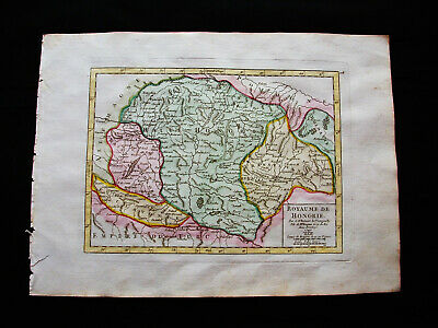 1749 VAUGONDY - origin. map of HUNGARY, BUDAPEST, ROMANIA, BUCHAREST, SCLAVONIA