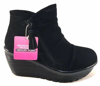 7a470a945a5f Skechers Women s Parallel Triple Threat WEDGE Ankle Bootie BOOTS SIZE 6.5  BLACK