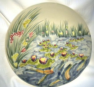 "Cobridge Stoneware  Pottery 11""  Plate Water Poem   Water Lily & Koi 1999"