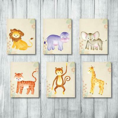 Safari Nursery Decor Jungle Baby Animals 6 Prints For