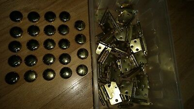 24 Heavy Round Brass Plated Cabinet Knobs Drawer Pulls & 30 Plated Hinges