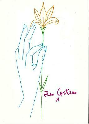 A Flower For You by Jean Cocteau Art Postcard