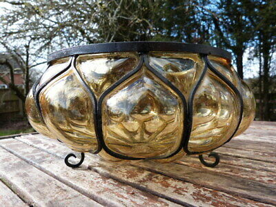 Vintage Arts & Crafts Style Light Amber Bubble Glass & Wrought Metal Fruit Bowl.