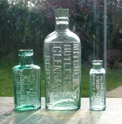 Antique Mitchell's Butlers Grenbarry Scotch + Swamp Root & Chivers Bottles