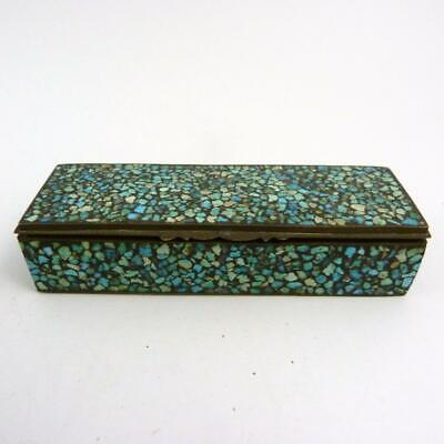 19th CENTURY INDIAN TURQUOISE CHIP TRINKET OR PIN BOX