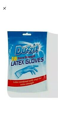 18 Pack Duzzit Latex Rubber Gloves Disposable Vinyl Extra Strong Cleaning LARGE
