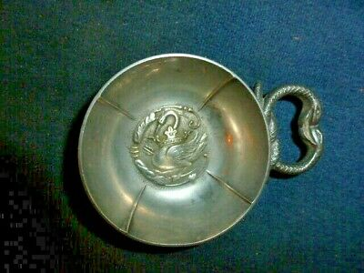 EXCELLENT FRENCH PEWTER WINE TASTER SNAKE HANDLE 19c?