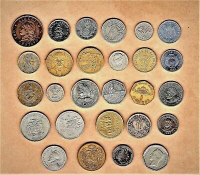 South/Central America w/Caribbean 25+ coins w/1892 Argentina Dos Centavos and up