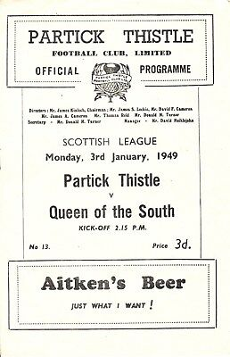 PARTICK THISTLE v Queen of the South, 3rd January 1949, Scottish League Div A
