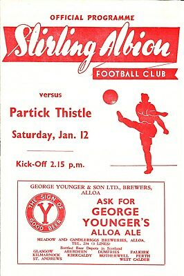 STIRLING ALBION v Partick Thistle, 12th January 1952, Scottish League Division 1