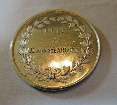 Large Silver 1St Place Medallion Dated 1880 Awarded To M August Argote