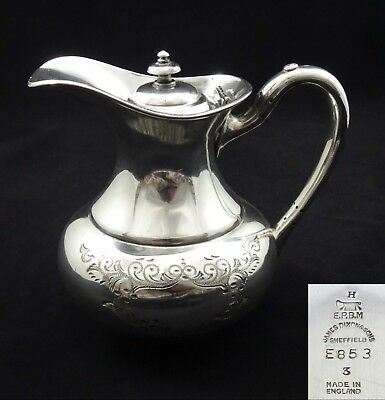 Vintage Classic James Dixon & Sons Ornate Chased Tea Pot Silver Plated Epbm
