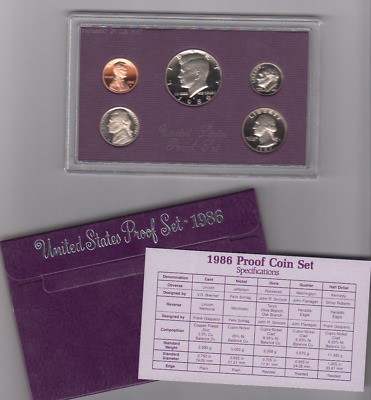 1986 US MINT 5 Coins Proof Set in Purple Box