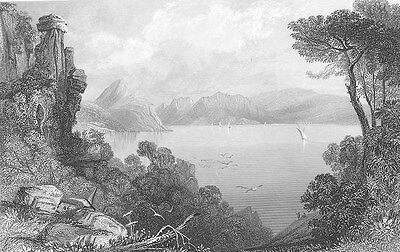 ITHACA Greece, AYIOS PALACE OF ODYSSEUS ULYSSES RUINS~ 1841 Art Print Engraving