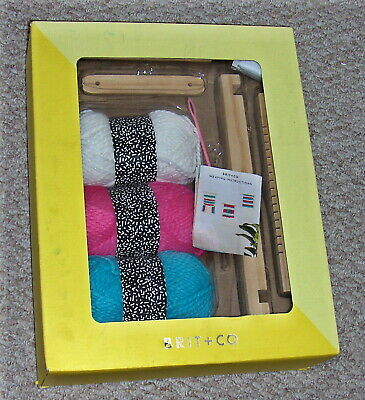 Brit+Co WEAVING KIT Complete w/Weaving Loom-Shed-Shuttle, Yarns, String, Needle